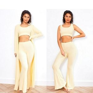 144) 3pieces Lounge Set Duster Top Wide leg pants…